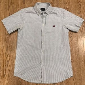 Obey button up shirt small s stripe blue white